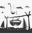 cooking food in a pot on nature vector image vector image