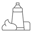 cream tube thin line icon lotion bottle vector image