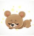 cute cartoon babear sleep on a white background vector image vector image