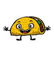 cute funny cartoon taco vector image vector image