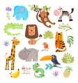 cute set of safari animals and flowers savanna vector image