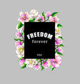 design t-shirt with magnolia flowers and slogan vector image vector image