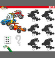 educational shadows game with vehicle characters vector image vector image