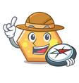 explorer hexagon mascot cartoon style vector image