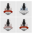 fireman logo design artwork of fire station or vector image vector image