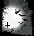 Flying bats Halloween horizontal banner vector image vector image