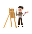 french painter artist in striped shirt and beret vector image vector image