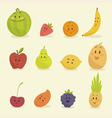 funny cartoon fruits flat vector image vector image