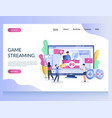game streaming website landing page design vector image
