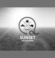 gray sunset with black water sea surface vector image vector image