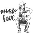 guitarist plays guitar love music calligraphy vector image vector image