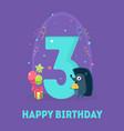 happy birthday 3 years banner template birthday vector image vector image