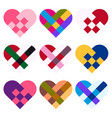 hearts set wicker hearts for decoration vector image vector image