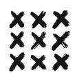 ink black cross set vector image