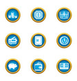 investments in tech icons set flat style vector image