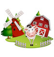 isolated barn with cow vector image vector image