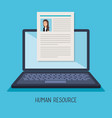 laptop with curriculum vitae vector image vector image