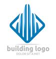 Logo Icon Tall Bulding Blue Design Symbol Abstract vector image vector image