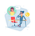 man standing and talking on the phone with a woman vector image vector image