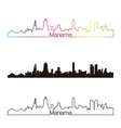 Manama skyline linear style with rainbow vector image vector image