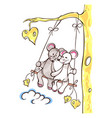 mice lovely girl and boy swing on swing swing vector image vector image