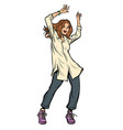 modern woman dancing disco music shirt and pants vector image