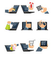 nine shopping icons vector image