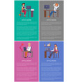 office work banners set men women working tables vector image vector image