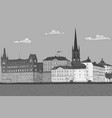 old city of stockholm lake view hand drawn vector image