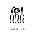 outline dentist tools icon isolated black simple vector image vector image