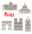 paris famous landmarks buildings icons vector image vector image