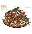 pizza with mushrooms peppers salami tomato vector image