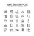 retail store supplies line icons trade shop vector image vector image