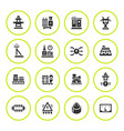set round icons power industry vector image