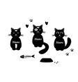 set with three funny cats vector image vector image