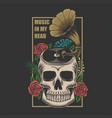 skull music in head vector image