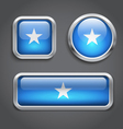 Somalia flag glass buttons vector image vector image