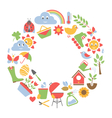 Spring flat icons in circle isolated on white vector image vector image
