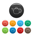 steel teapot icons set color vector image vector image