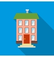 Three-story house icon flat style vector image vector image
