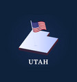 utah state isometric map and usa national flag 3d vector image vector image