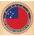 Vintage label cards of Samoa flag vector image vector image