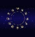 wheel zodiac set collection 12 zodiac signs vector image
