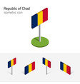 chad republic flag set 3d isometric icons vector image