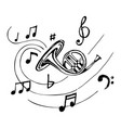 french horn with notes vector image
