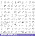 100 machine icons set outline style vector image vector image