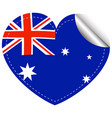 australia flag in heart shape vector image vector image