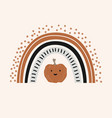 autumn colored rainbow with a cute pumpkin good vector image