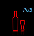 beer bottle and glass neon sign on a black vector image vector image