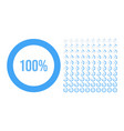 big set circle percentage diagrams from 0 to vector image vector image